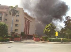 संसद  में आग