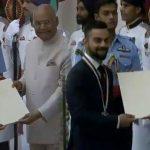 राष्ट्रपति ने किया विराट कोहली और मीराबाई चानू को खेल रत्न पुरस्कार से सम्मानित