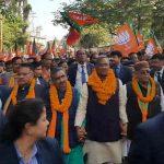 त्रिवेंद्र एवं अजय भट्ट ने मांगे भाजपा प्रत्याशियों के लिए वोट
