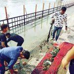 युवा भगीरथों ने गंगा में उतरकर चलाया सफाई अभियान